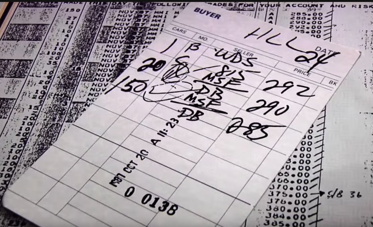 Picture of the order-card that stopped the 1987 Crash